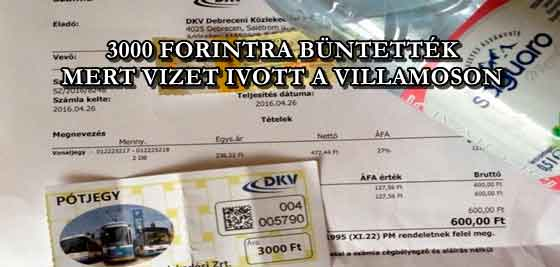 3000 FORINTRA BÜNTETTÉK, MERT VIZET IVOTT A VILLAMOSON